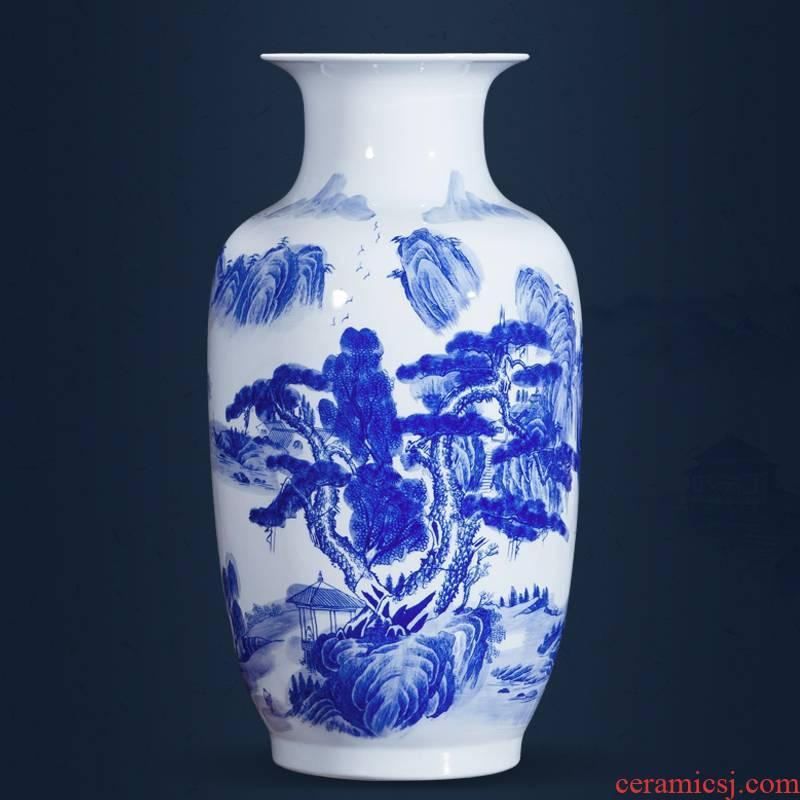 Jingdezhen ceramics landscape painting large Chinese blue and white porcelain vase study ground adornment office furnishing articles