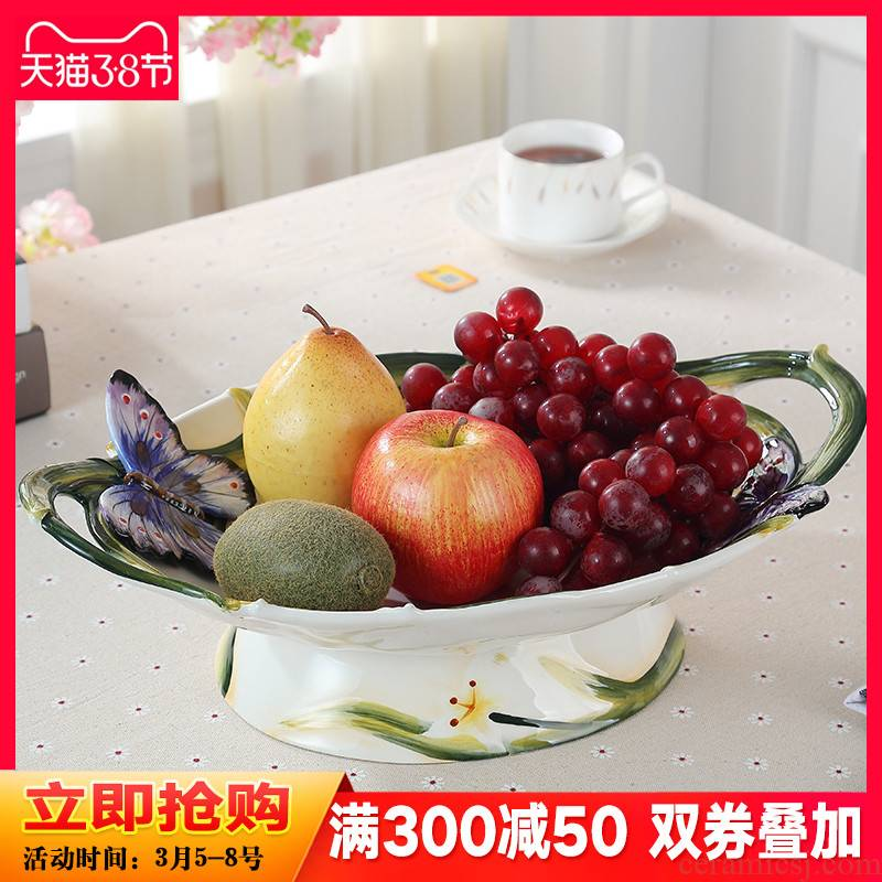 European rural ceramic compote creative household fruit bowl suit practical adornment of I sitting room tea table furnishing articles
