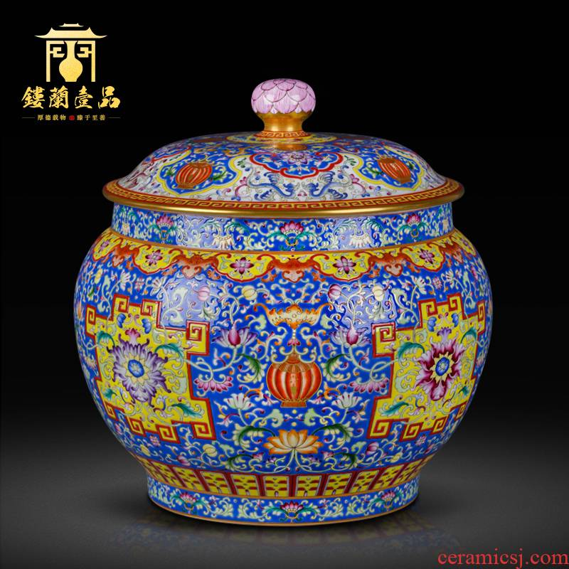 Jingdezhen ceramic all hand colored enamel live ten thousand broke the orb cover tea pot Chinese style household decorative furnishing articles