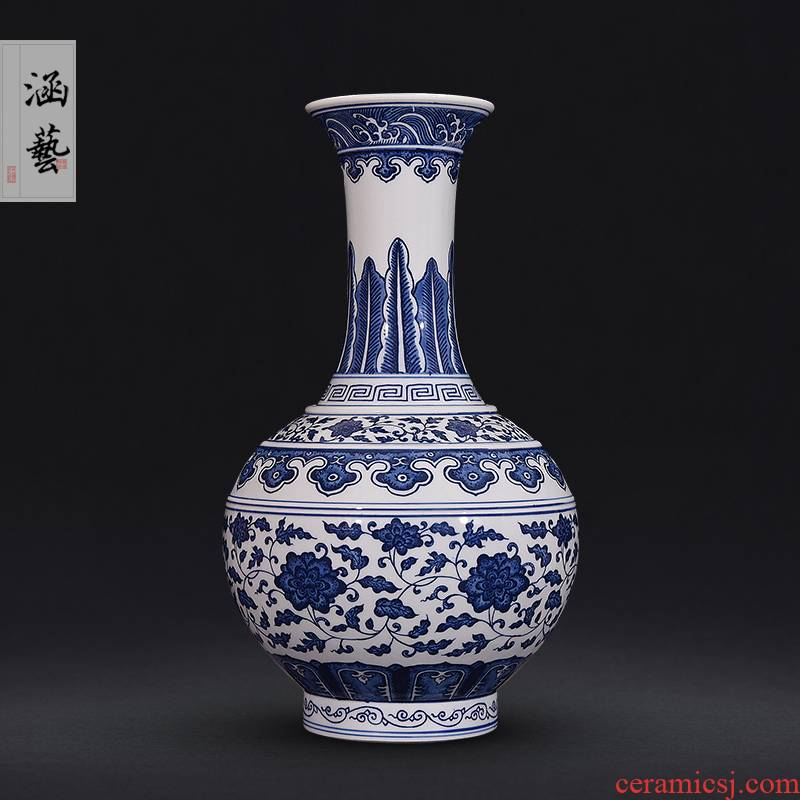 Jingdezhen ceramic hand - made antique blue - and - white bound lotus flower pattern of the reward bottle of flower arranging the sitting room of Chinese style decorative furnishing articles of handicraft