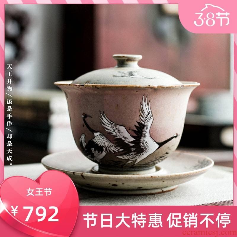 Poly real archaize jingdezhen up hand - made cranes tureen retro scene kung fu tea set ceramic tea three tureen