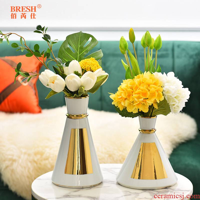 Light key-2 luxury ceramic vase floral wine TV ark, furnishing articles contracted sitting room creative fashion decoration H1011 shelf