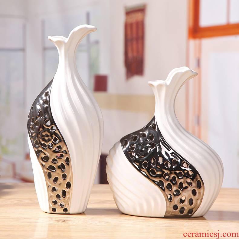 European TV cabinet mesa vase furnishing articles home decoration jingdezhen ceramic vase silver vase