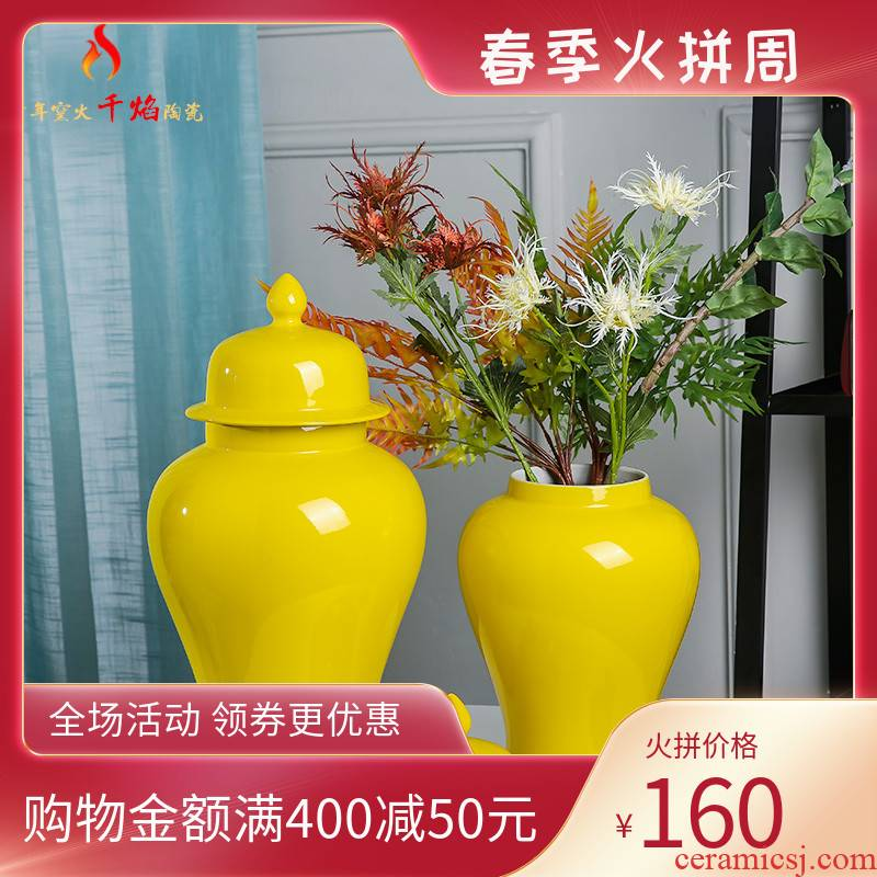 Jingdezhen ceramics of new Chinese style wine porch mesa adornment general furnishing articles can vase planting yellow decorations