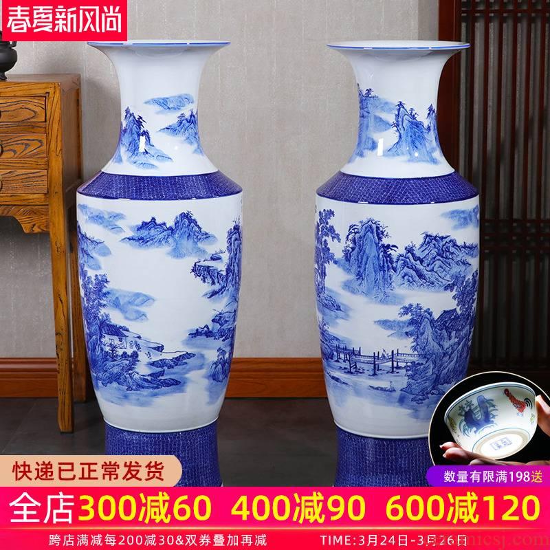 Jingdezhen landing big large porcelain vase ceramics high blue and white porcelain vases son sitting room adornment of Chinese style hotel
