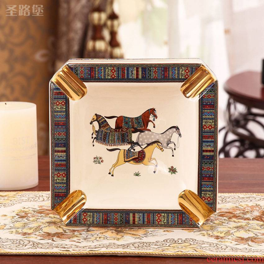 Fort SAN road ashtray Nordic light key-2 luxury ceramic ashtray home sitting room adornment is placed large ashtray