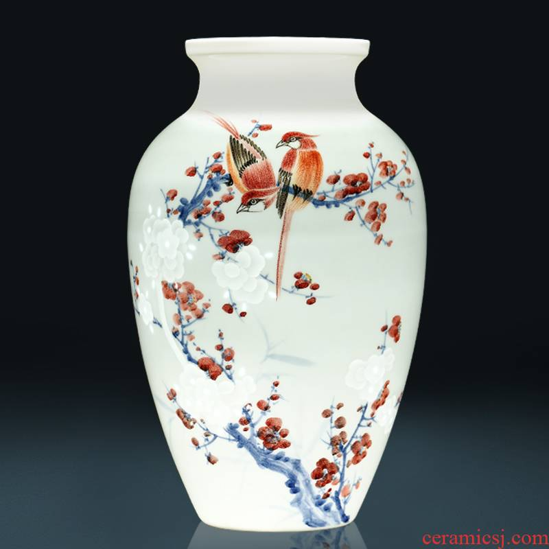 Beaming vases, flower arranging jingdezhen ceramics by hand carved Chinese style living room home decoration furnishing articles