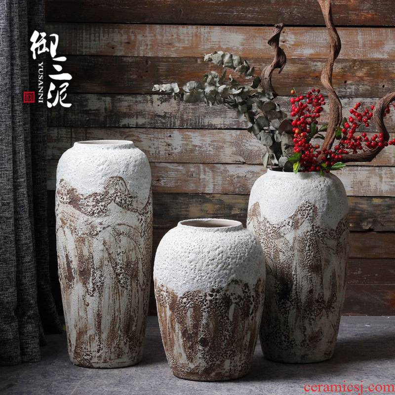 Jingdezhen ceramic checking out little pure and fresh and coarse pottery ground flower arrangement sitting room place vase soil POTS dry flower pot
