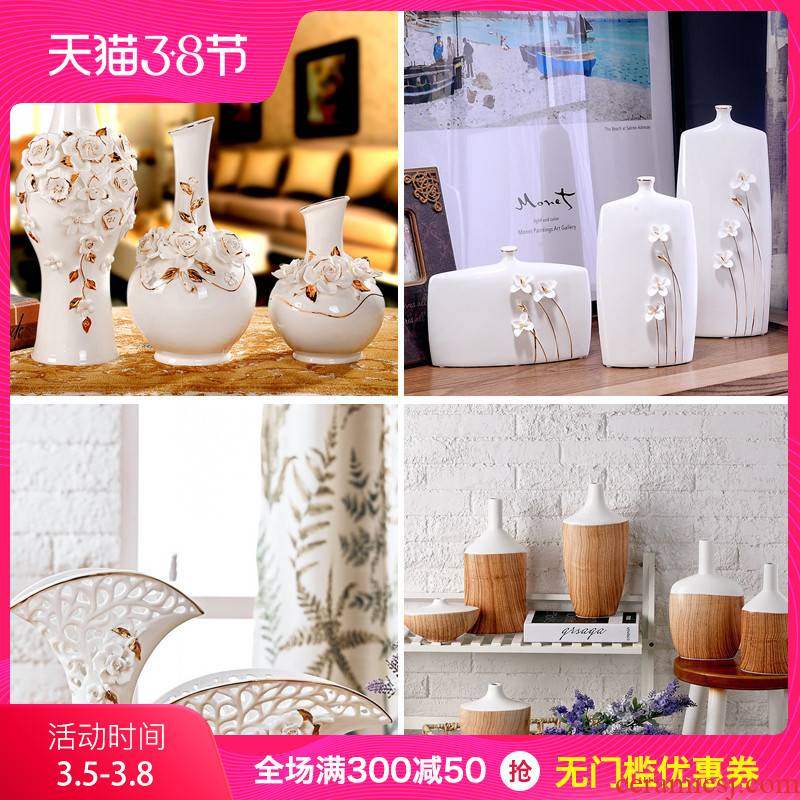 European I and contracted fashion home sitting room the bedroom adornment handicraft ceramics vase rose three - piece suit