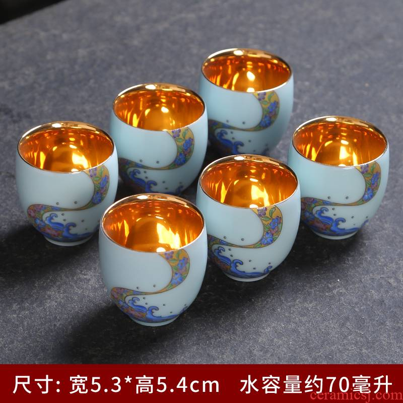 Celadon wrap large silver cup 999 master cup manual single cup sample tea cup of jingdezhen ceramic kung fu tea set