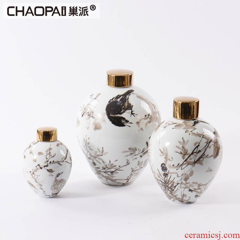 New classical light general key-2 luxury ceramic pot furnishing articles can flower arranging club show rich ancient frame display soft decoration