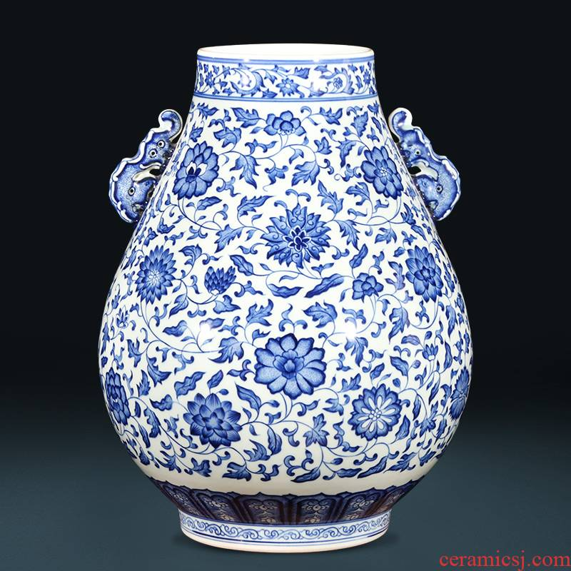 Jingdezhen ceramics creative hand - made antique Chinese wine sitting room adornment is placed ears of blue and white porcelain vase