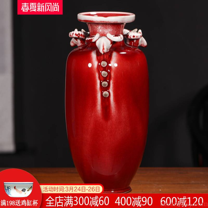 Ding jun porcelain antique vase ice to crack the jingdezhen ceramics three Yang kaitai, home decorations arts and crafts