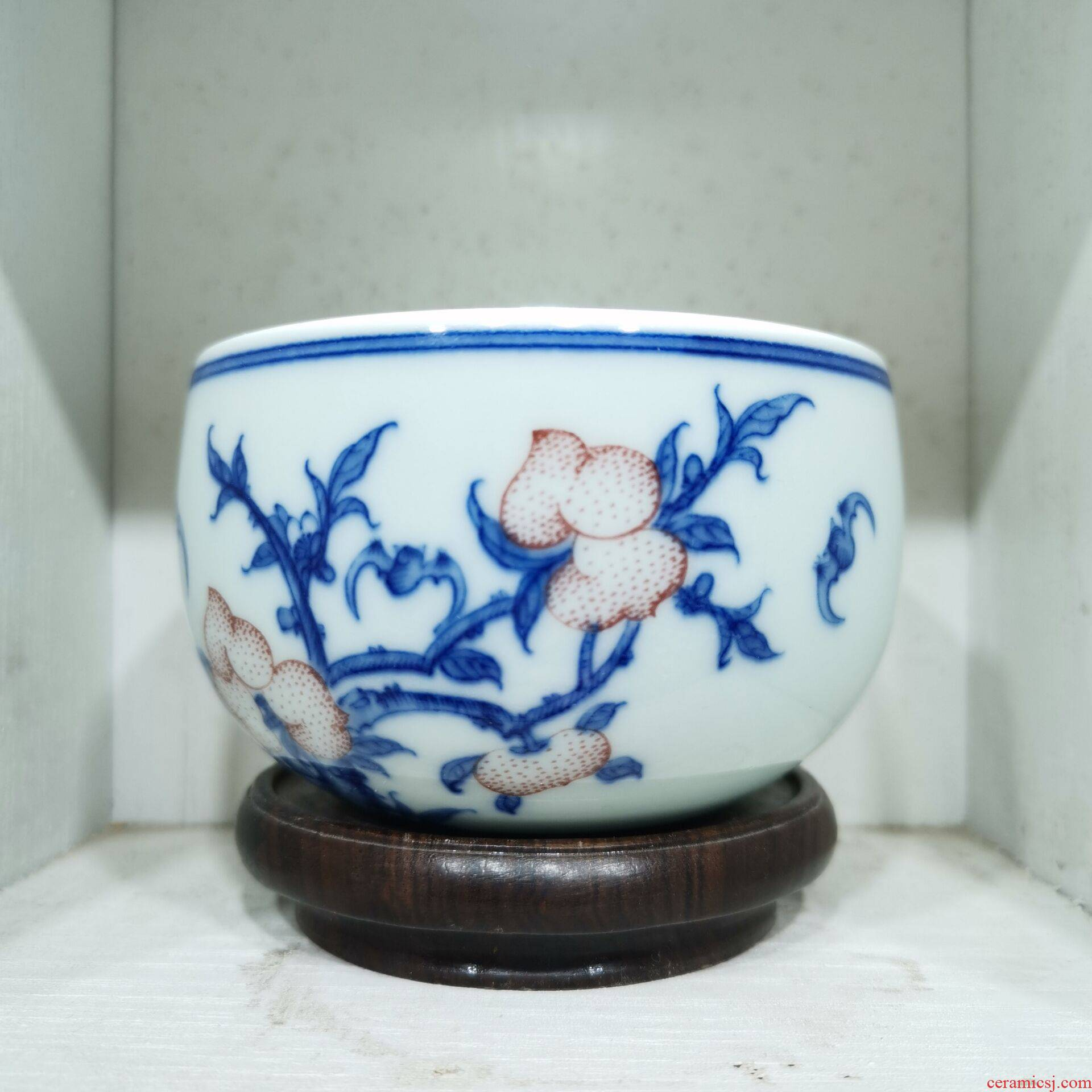 Jingdezhen porcelain cup manual hand - made single master CPU high - grade sample tea cup nine pick wufu 03