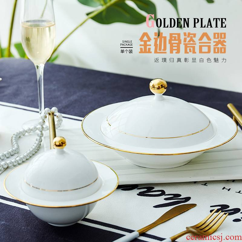 The New ipads porcelain child home with cover plate stew creative northern dishes dish soup bowl ceramic net red plate