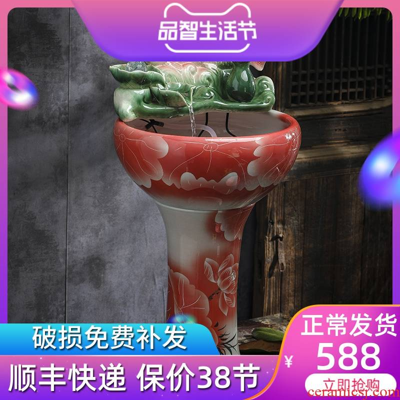 Ceramic water furnishing articles sitting room of Chinese style household feng shui plutus fountain transshipment ball landing fish tank from year to year