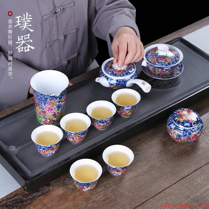 Injection machine colored enamel kung fu tea set of a complete set of household ceramics tureen the teapot tea cup gift set porcelain gift boxes