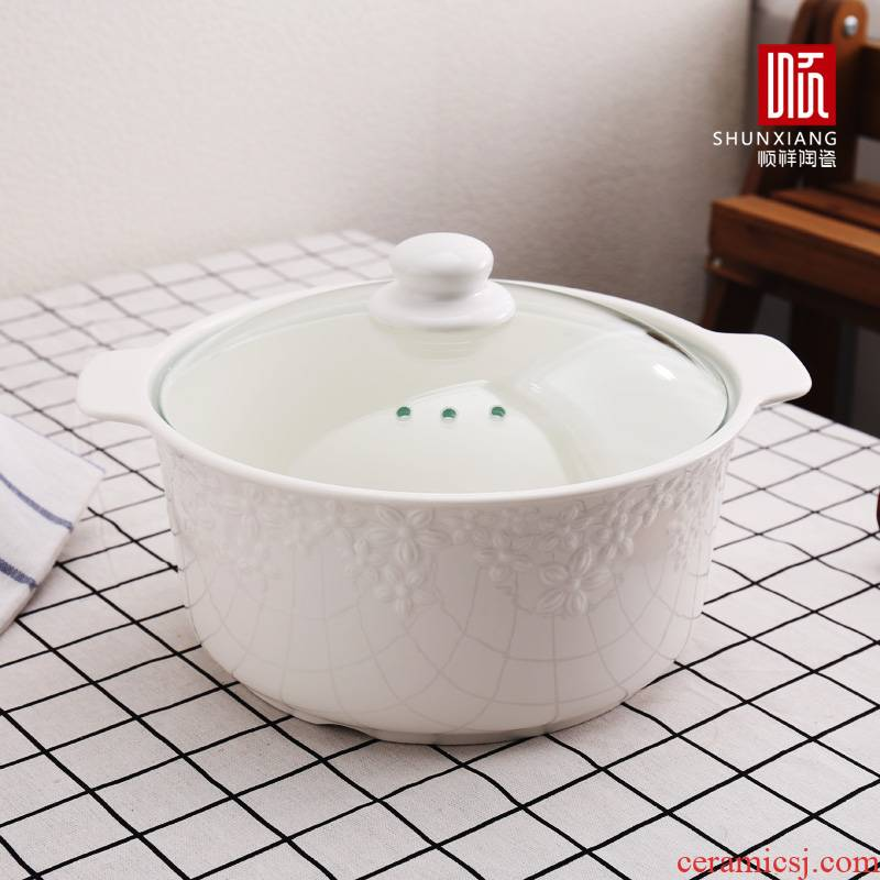 Shun auspicious ceramic ear soup bowl high - temperature flame contracted soup pot soup pot of household microwave large pull rainbow such use