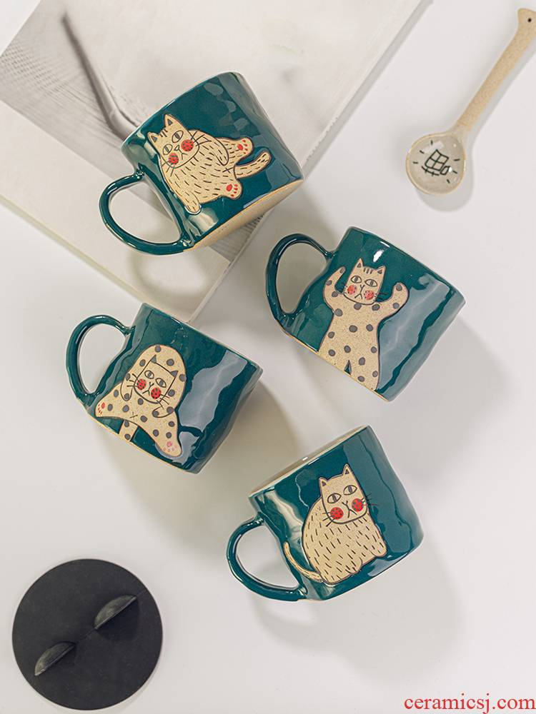 Japanese lovely cat glass ceramic cup individuality creative tide mark cup coffee cup cup with a spoon