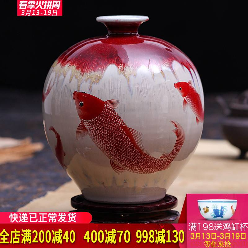 Creative jingdezhen ceramics up crack glaze vase flower arranging new Chinese wine rich ancient frame is placed in the living room