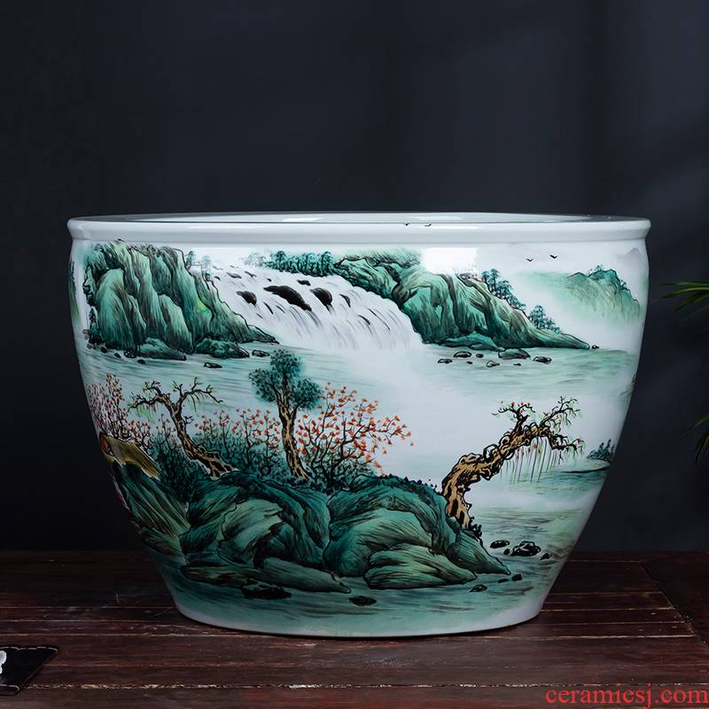 Jingdezhen hand - made ceramic big aquarium landscape furnishing articles of Chinese style living room extra large courtyard floor decoration arts and crafts