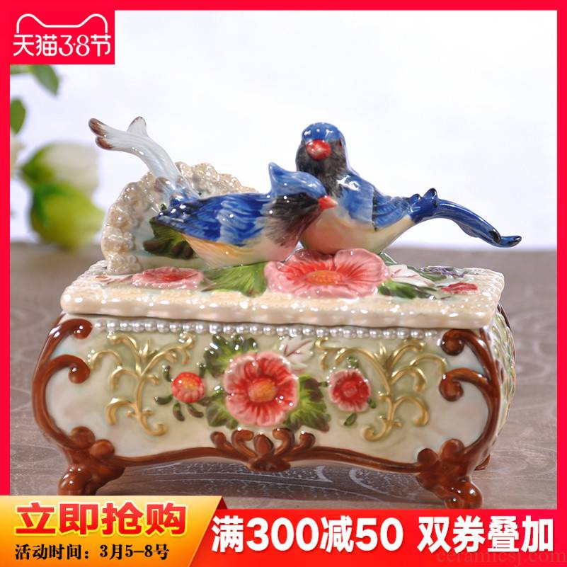 The magpies creative jewelry box European rural household ceramics receive a case necklace box of a wedding gift