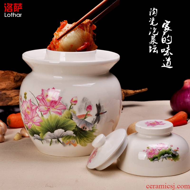 Jingdezhen ceramic pickle jar kimchi seal storage tank sichuan pickles pickles pickled egg altar altar canister double cover