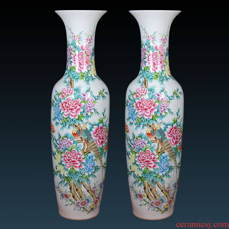 Jingdezhen ceramics hand - made pastel landing big new Chinese style living room hotel decoration porcelain vase furnishing articles
