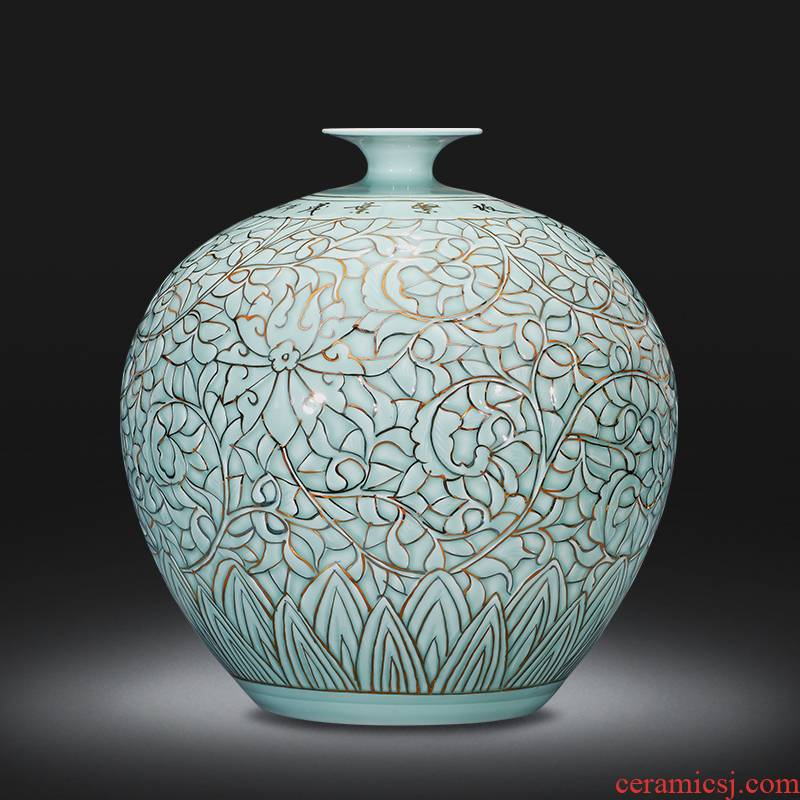 Jingdezhen ceramics large vases, hand - made shadow blue paint pomegranate bottle home sitting room adornment study furnishing articles
