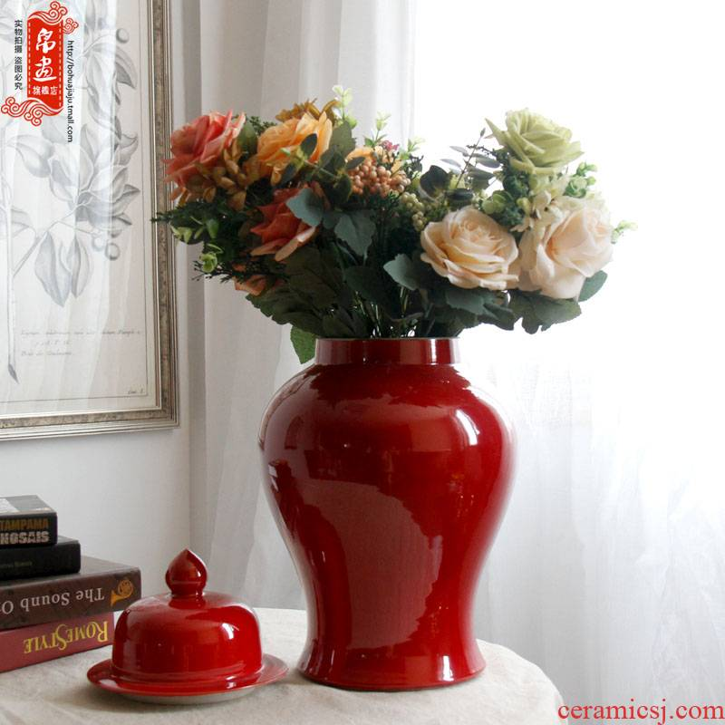 Jingdezhen ceramic vase general furnishing articles can creative decoration contracted sitting room grain dry flower flower arranging flowers red