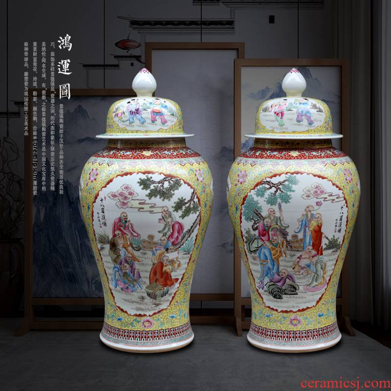 Jingdezhen ceramic general hand - made figure painting of large vase 18 Luo Hantu tank sitting room temple furnishing articles