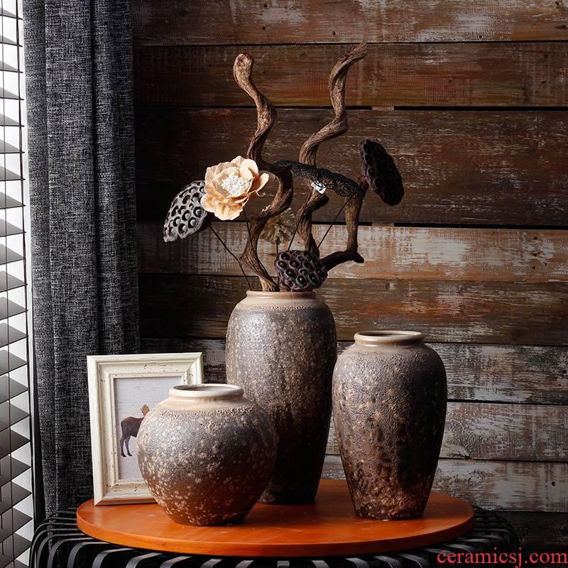 Coarse some ceramic jingdezhen porcelain table dry flower vase checking flower implement simulation flower, flower art furnishing articles furnishing articles retro decoration