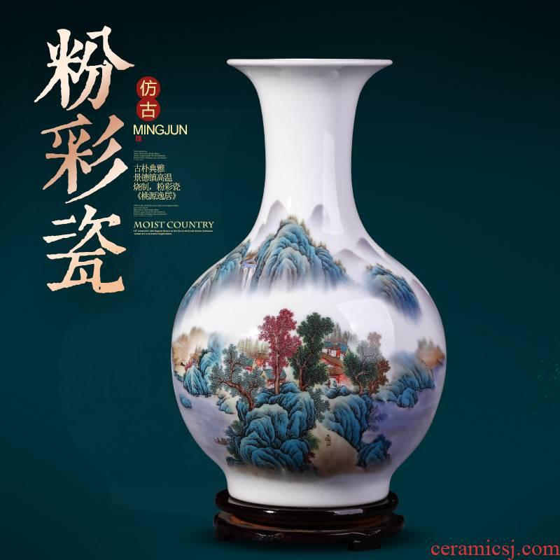 Jingdezhen ceramics and enamel vase Chinese style household living room TV cabinet flower arrangement craft ornaments furnishing articles