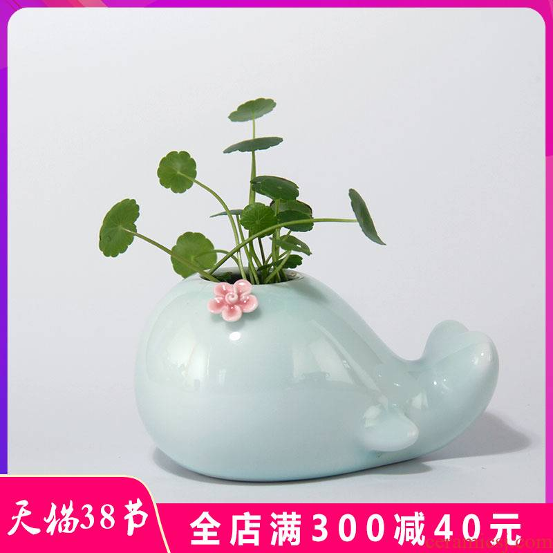 European simplicity vase furnishing articles of jingdezhen ceramic Nordic white living room modern creative little flower arranging, hydroponic flower pot