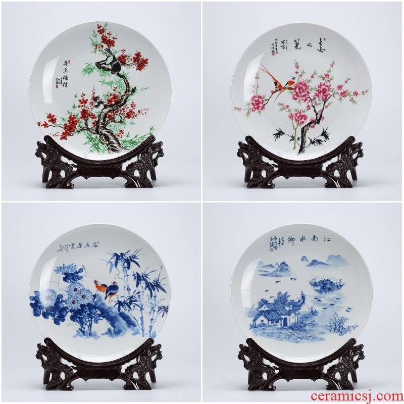 Jingdezhen porcelain home decoration plate of modern Chinese style adornment sits plate of TV ark, wine sitting room porch place
