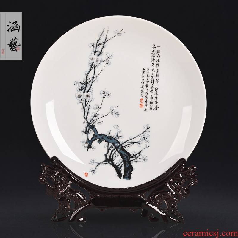 Jingdezhen ceramics by patterns decorative hanging dish by dish sitting room of the new Chinese style household adornment handicraft furnishing articles