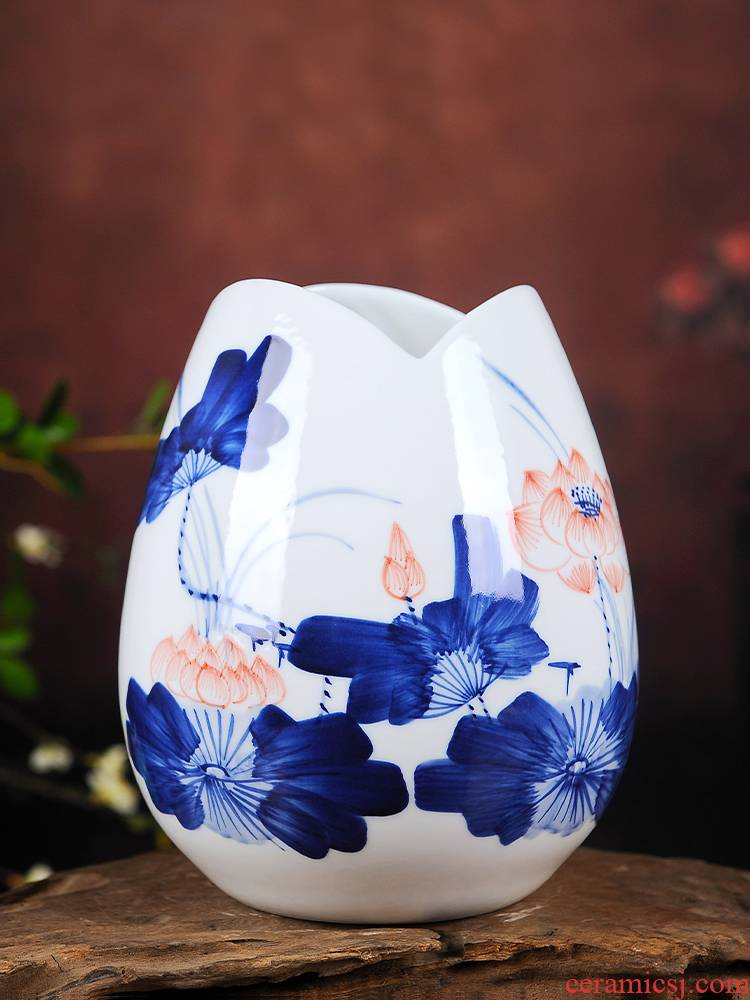 Jingdezhen ceramics floret bottle of dry flower adornment furnishing articles home sitting room hand - made hydroponic porcelain bottle arranging flowers