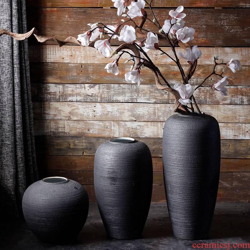 Jingdezhen ceramic vases, I and contracted landing pure black Scandinavian minimalist home decoration flower arranging produce flowers