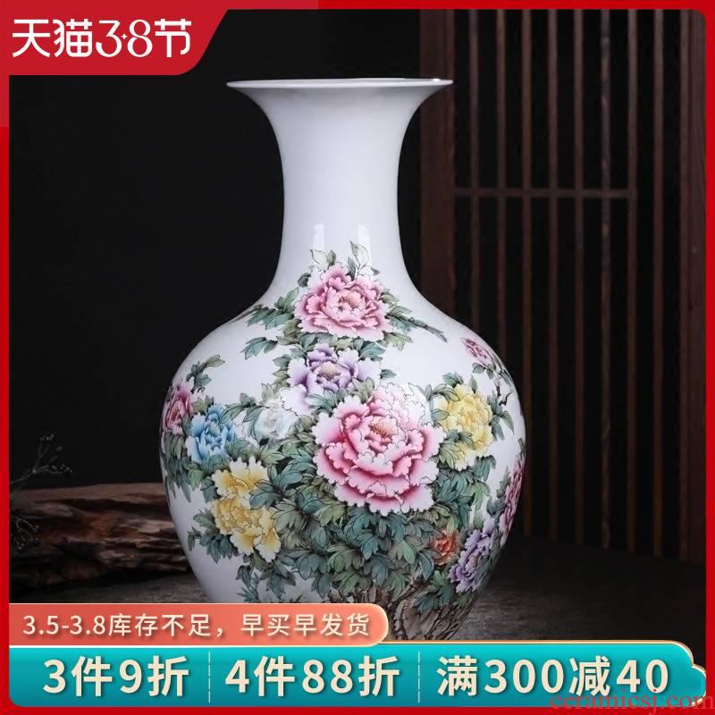 Jingdezhen ceramics vase masters hand made peony a large bottle of new Chinese style living room decoration housewarming furnishing articles