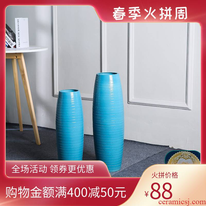 I and contracted jingdezhen ceramic vase landing sitting room European - style decorative dried flowers tall blue flower arranging furnishing articles