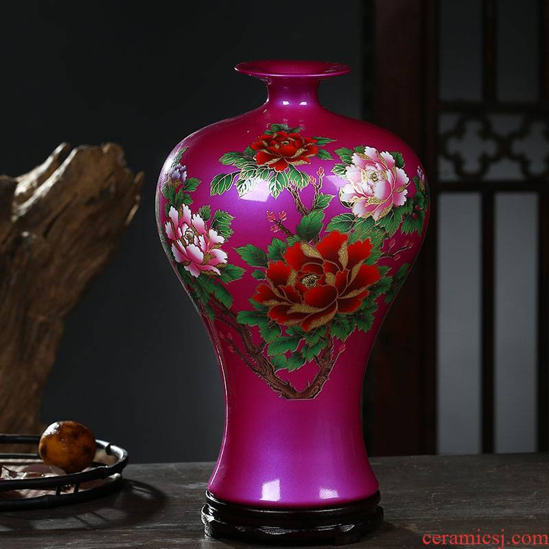 Jingdezhen ceramic vase powder anaglyph peony flower arranging furnishing articles furnishing articles home sitting room adornment rich ancient frame porcelain