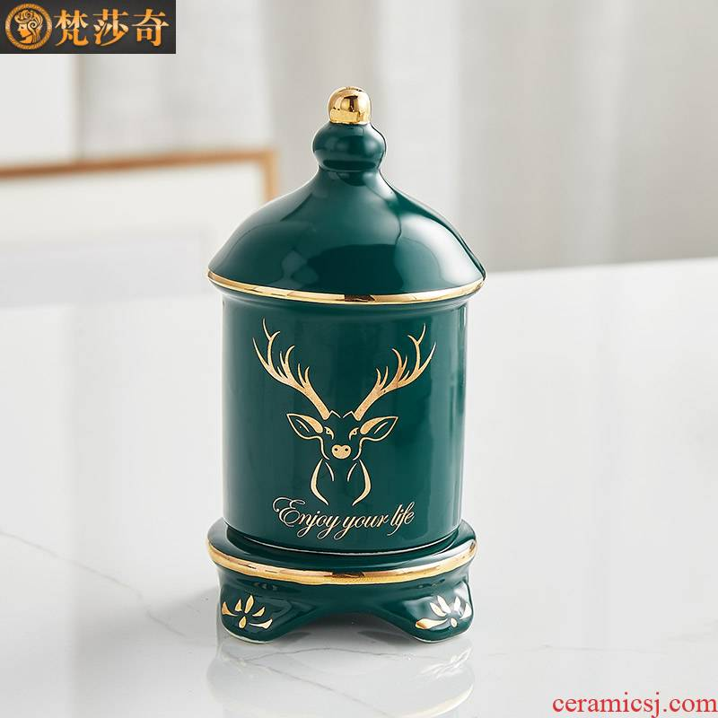 Toothpicks extinguishers creative household table sitting room place the Nordic high - end home decoration cotton toothpick box of ceramic hotel