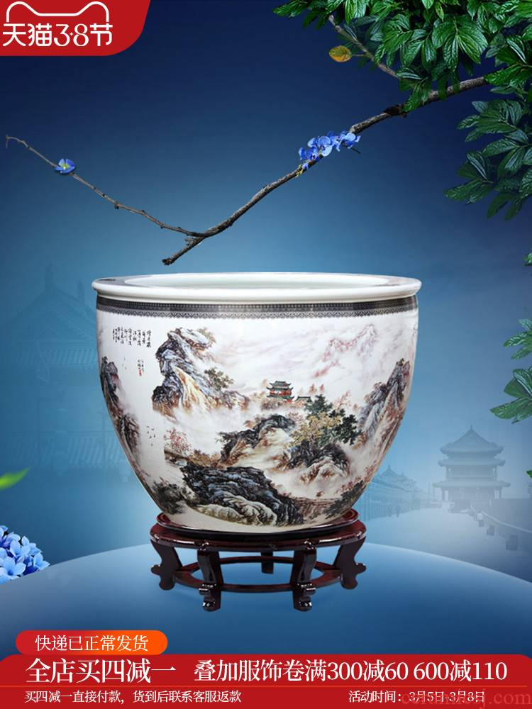 C176 jingdezhen ceramic large aquarium fish bowl goldfish turtle rock cylinder to heavy water lily bowl lotus basin of porcelain