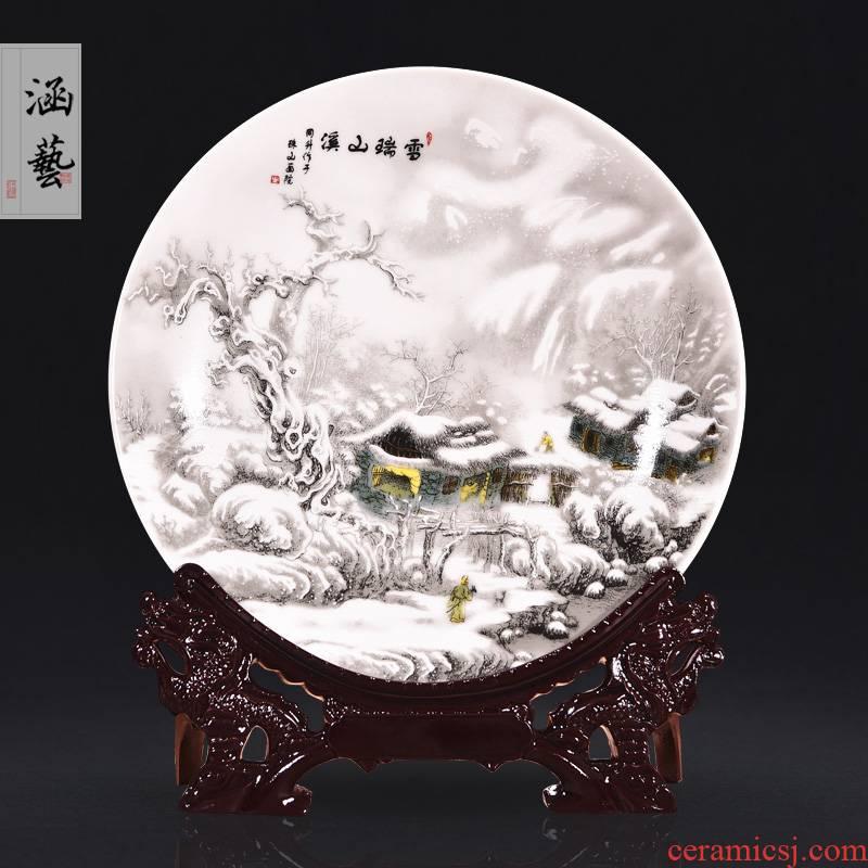Jingdezhen ceramics snow creek mountain snow decorative hanging dish sat dish sitting room home decoration handicraft furnishing articles