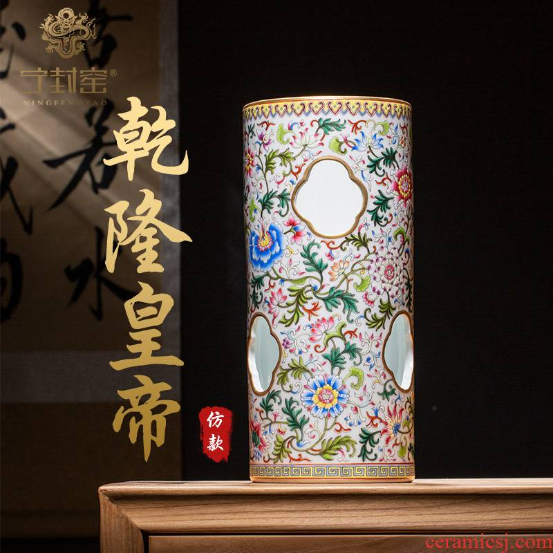 Ning hand - made antique vase seal up with jingdezhen ceramic bottle vase furnishing articles sitting room hollow out paint branch lines cap tube