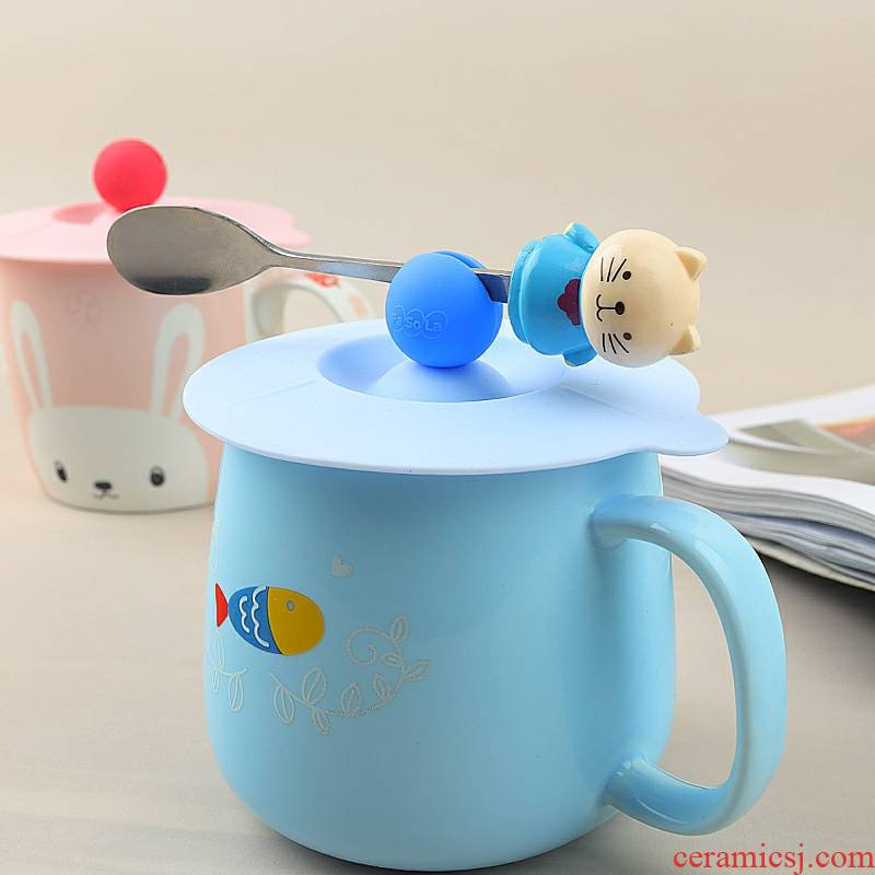 A Warm harbor lid silicone large - diameter spoon can be put on creative dust round glass ceramic keller coffee cup