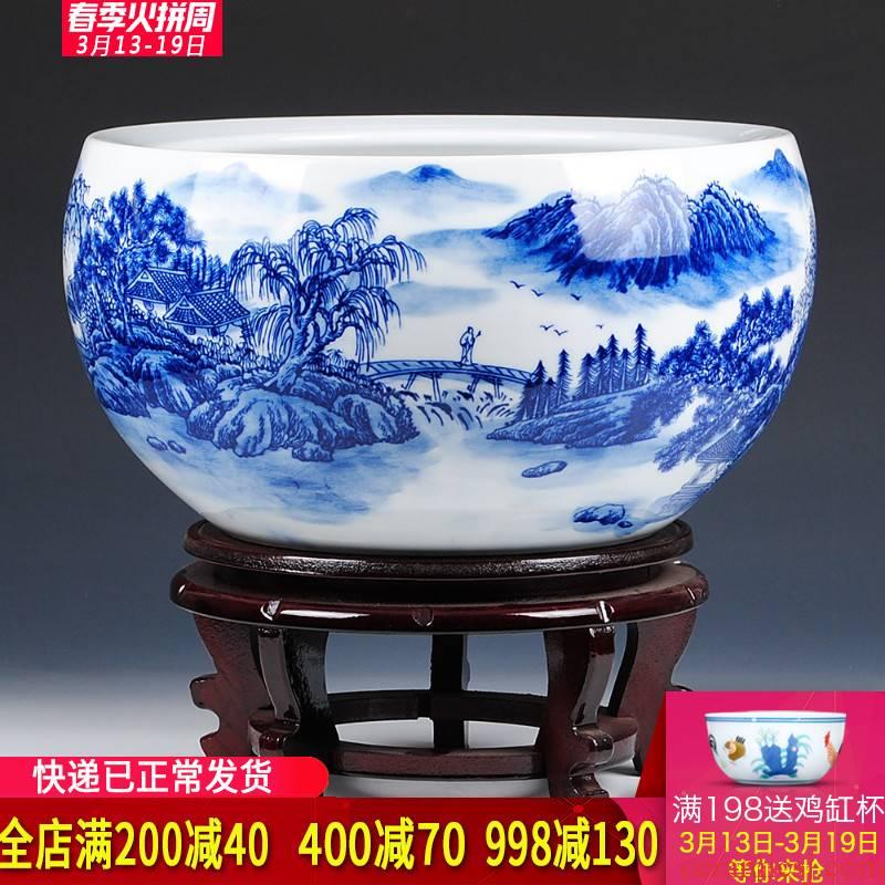 Blue and white porcelain of jingdezhen ceramics manual landscape painting khe sanh friends goldfish bowl lotus basin tortoise tank water lily