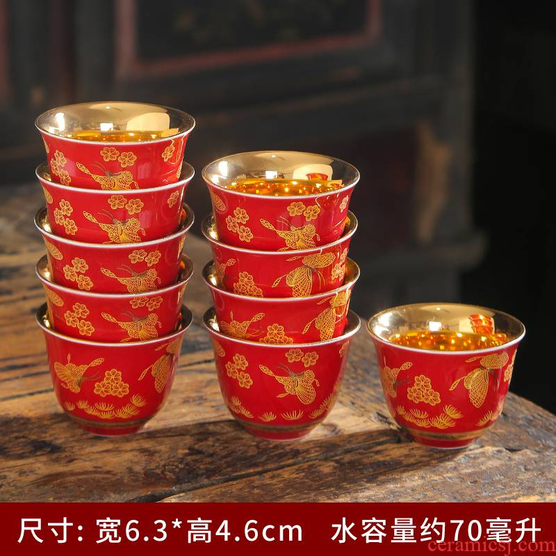 999 sterling silver, silver cup jingdezhen ceramic cups silver colored enamel coppering. As kung fu tea cups master cup single CPU
