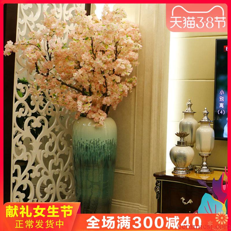 Jingdezhen ceramic floor big vase club hotel sitting room porch is decorated flower flower implement large furniture furnishing articles