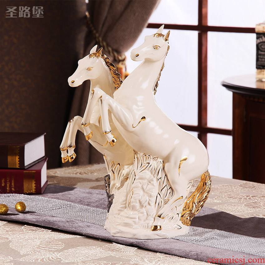 European living room decoration ideas horse ceramic zodiac ornament gift and office furnishing articles of Europe type move